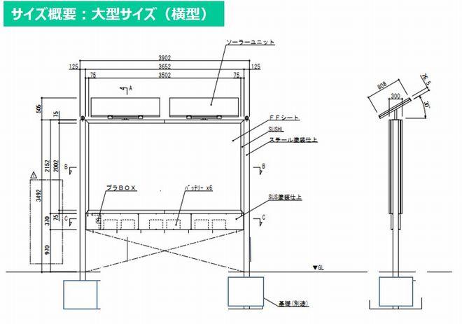 ソーラー看板 サイズ概要(横型)