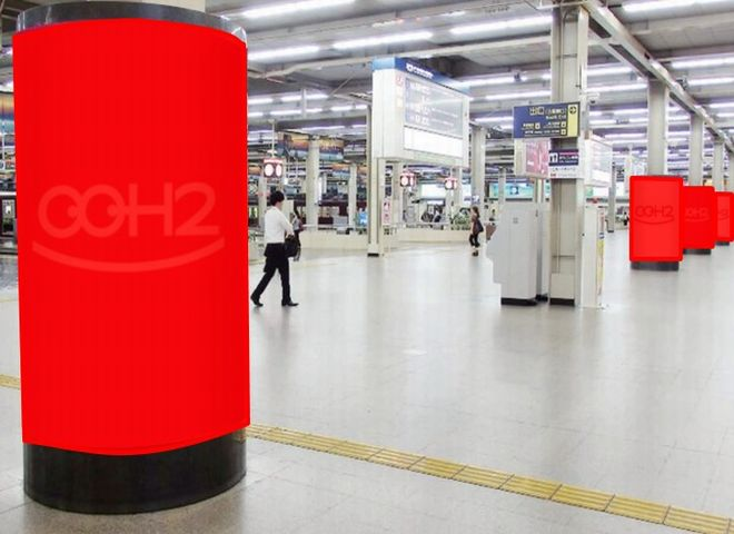 阪急 改札内円柱広告